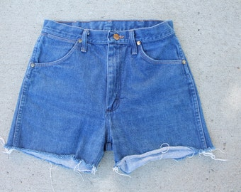 Denim High Waisted Wrangler Shorts