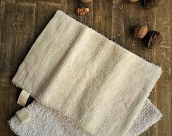 "Natural organic terry hemp washcloth loofah massage glove exfoliating glove 9,5""x7"""
