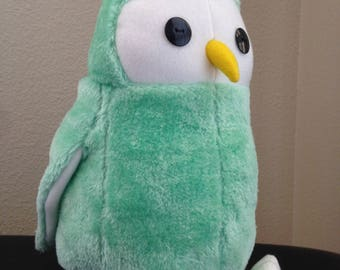 Fluffy Mint Green Owl Plush