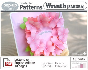 pop-up card pattern_wreath[sakura]__(digital download file)