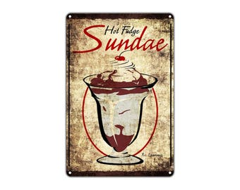 Hot Fudge Sundae Vintage Retro Metal Decor Wall Art Shop Man Cave Bar