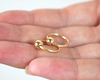 Gold Ball Hoop Earrings | free shipping, gold filled hoop earrings, small gold hoop earrings, gold hoop earrings small, simple gold hoops