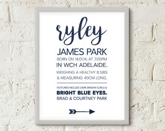 Navy Blue Baby Announcement Poster - AKGraphicDesignStore