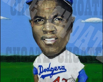 Jackie Robinson, Brooklyn Dodgers Art Photo Print