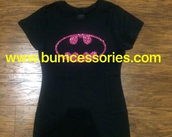Batman T-shirt Logo Outline Shirt Batgirl Pink Sparkle Glitter T-Shirt