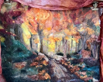 Woodland Path -Felted Wool Painting