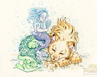"""Mermay#3 """"The Adoption"""" - Original Merlion and Mermaid Drawing on Moleskine ORIGINAL OOAK Art"""
