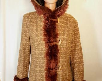 Vintage womens coat, Retro womens coat, Brown coat, Winter coat, Brown coat, Vintage 60s coat, Wool coat, Winter coat with hood