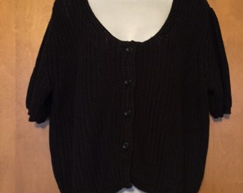 Apart black shaker stitch knit cropped 100% cotton cardigan in Size Large