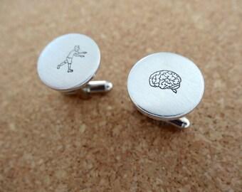Zombie and Brains Cufflinks - Hand stamped Zombie Brains Cufflinks