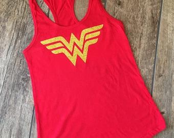 Wonderwoman shirt- quick shipping - Wonder Woman Tank Top - Wonder Woman with Gold Glitter- Woman's tank - red - gift