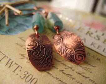 Roman Glass Earrings, Hand Stamped Copper, Pure Copper, Ancient Glass, Aqua Glass, candies64