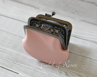 2 section Frame Coin Purse Light Pink Leather with Liberty of London Lining 2 Compartment Double Coin Purse with Divider Pastel Pink