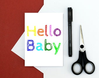New baby card - rainbow card - hello baby card - new parents card - welcome baby card - new mum - baby shower card - baby boy - baby girl