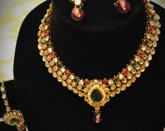 Necklace kundan stone set with earrings and head pasa