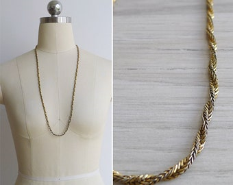 Vintage 80's Gold Twisted Rope Chain Necklace