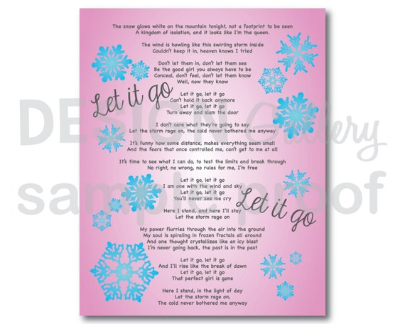 Items similar to let it go song lyrics diy printable instant items similar to let it go song lyrics diy printable instant download on etsy stopboris Images