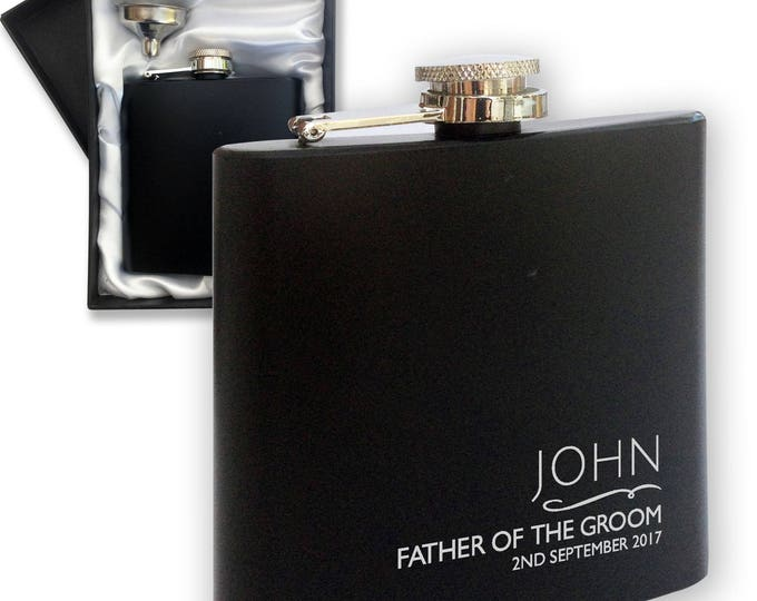 Personalised engraved FATHER of the GROOM hip flask WEDDING gift idea, black coated stainless steel presentation box - NYM2