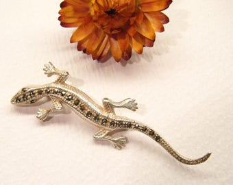 Vintage Lizard Pin, Reptile Brooch, Sterling Silver,  ANIMAL CHARITY DONATION