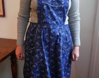 Blue dyed vintage apron, gift for your mom!