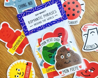 Say What? Romantic Phrases Around The World Stickers