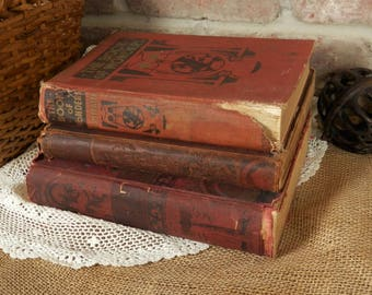 Three Big Rustic Distressed Books, 1897 - 1917, Red Brown Books, Wonders of the Universe, Book of Wonders, Bible Pictures What they Teach Us