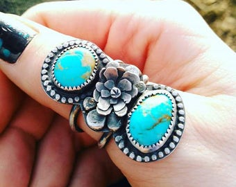 Double Turquoise Sterling Silver Flower Statement Ring