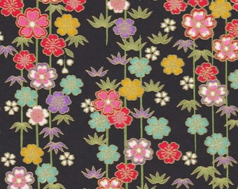 NEW - Chiyogami or yuzen paper - sakura and bamboo, pink, red and teal with gold accents on matte black background, 9x12 inches