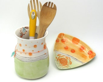 Colorful Ceramic Caddy Spoon Rest Set,Whimsical Utensil Ceramic Utensil Holder,Large Colorful Spoon Rest Set,Wedding Pottery Utensil Holder
