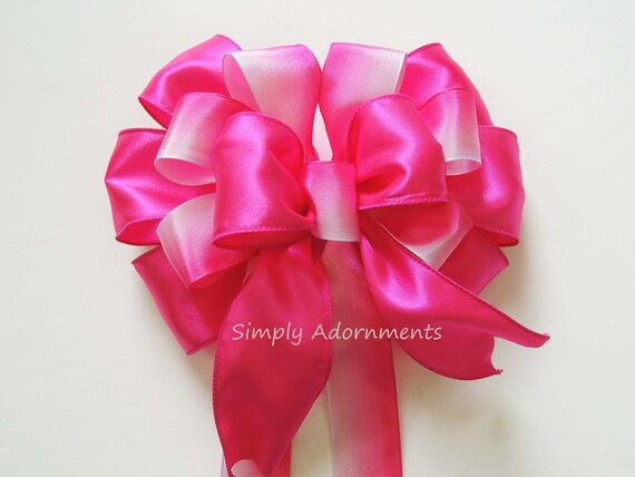 Ombre Pink Wedding Pew Bow Pink Wreath bow Pink Baby 1st Birthday Party Decor Pink Baby Shower Party decor Pink Party Decor Pink Door hanger