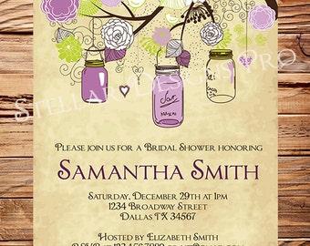 Vintage Mason Jars Invitation,Vintage Bridal Shower Invitation,Wedding Shower,Mason Jars, Branches, Purple, Brown, 5273