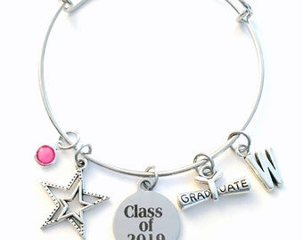 Class of 2019 Charm Bracelet, Graduation Gift for Daughter Jewelry, Granddaughter Star Student Silver Bangle College her girl teenager 2018
