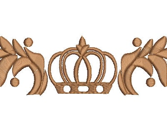 crown and laurel branches Machine Embroidery Design