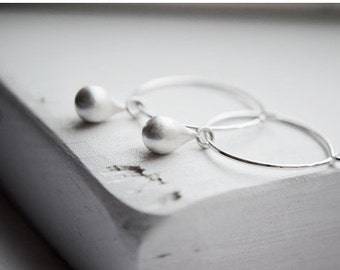 Simple Silver Hoop Earrings with Droplet - Tiny Teardrops Matte Silver - Drop Earrings Dangle Earrings, Gifts For Her
