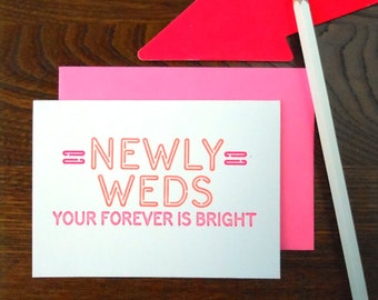 letterpress newly weds neon sign greeting card fluorescent pink & red ink on bright white paper your forever is bright
