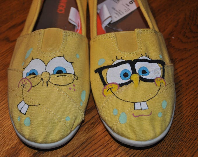 For Sale Hand painted sponge bob size 9 sneakers  READY TO SHIP