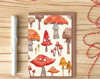 Toadstool Pattern Greetings Card, Woodland Pattern Card, Dotty Mushroom Card,