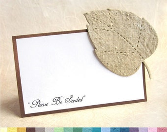 100 Flower Seed Paper Wedding Place Cards - Leaf Place Cards Plantable Seating Cards - Hearts Fleur de Lis and more - PDF Template option