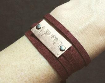 CUSTOM Morse code bracelet | etched copper | etched brass | leather wrap bracelet | personalized bracelet