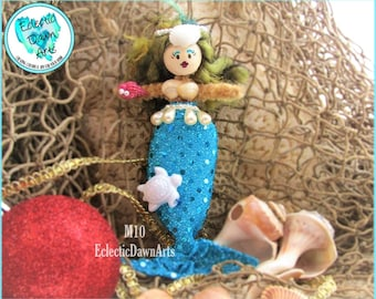 Mermaid Ornament with Turtle and Crown, MO10