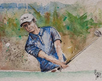 GOLF ORIGINAL PAINTING * Watercolor * Golf Fan Wall Art * Small Original Painting * Golfers Art * Chipping onto the green at golfcourse