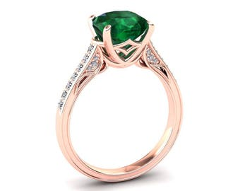 Emerald Ring Cushion Cut 3.10 Carat Emerald And Diamond Ring In 14k or 18k Rose Gold. Matching Wedding Band Available CF8GR
