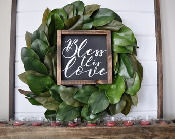 Bless this Love wood sign. Farmhouse decor. Farmhouse style. Farmhouse wood sign. Framed wood sign. Master bedroom decor.