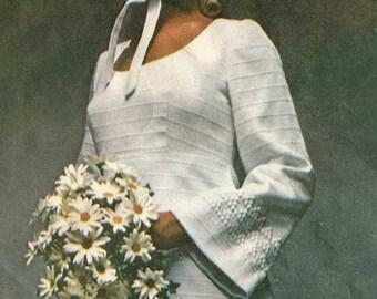 Sewing pattern Vogue 2253 Wedding dress empire waist slim or bell sleeves scoop neckline or shaped collar Size 12 Vogue Bridal Design uncut
