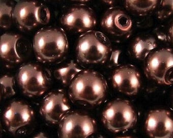 Set of 100 Pearl renaissance glass beads 4mm - chocolate brown