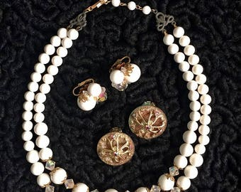 1950's Aurora Borealis Necklace and Earrings Set