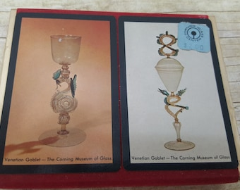 Vintage Playing Card Set, Corning Glass Center, Venetian Goblet, Museum of glass