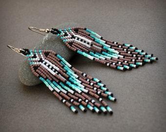 Seed bead fringe earrings Hand beaded earrings Womens boho earrings Beaded jewelry Hippie earrings long dangle earrings Boho ethnic earrings