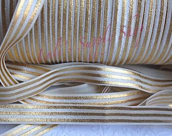 1 Yard Foil Print Cream & Gold Stripes FOE - 5/8 Fold Over Elastic - Foldover Elastic - printed FOE- Elastic by the yard - Foil Print