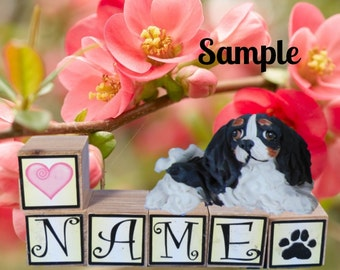 Tri Color Black White and Tan Cavalier King Charles Spaniel dog PERSONALIZED with your dog's name on blocks by Sally's Bits of Clay